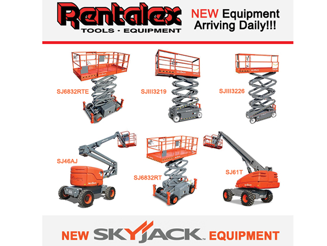 Rentalex Has New Equipment Arriving Daily! Check Our NEW Skyjack Equipment!