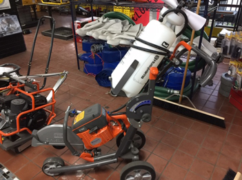 Husqvarna K760 on Cart with Water Tank